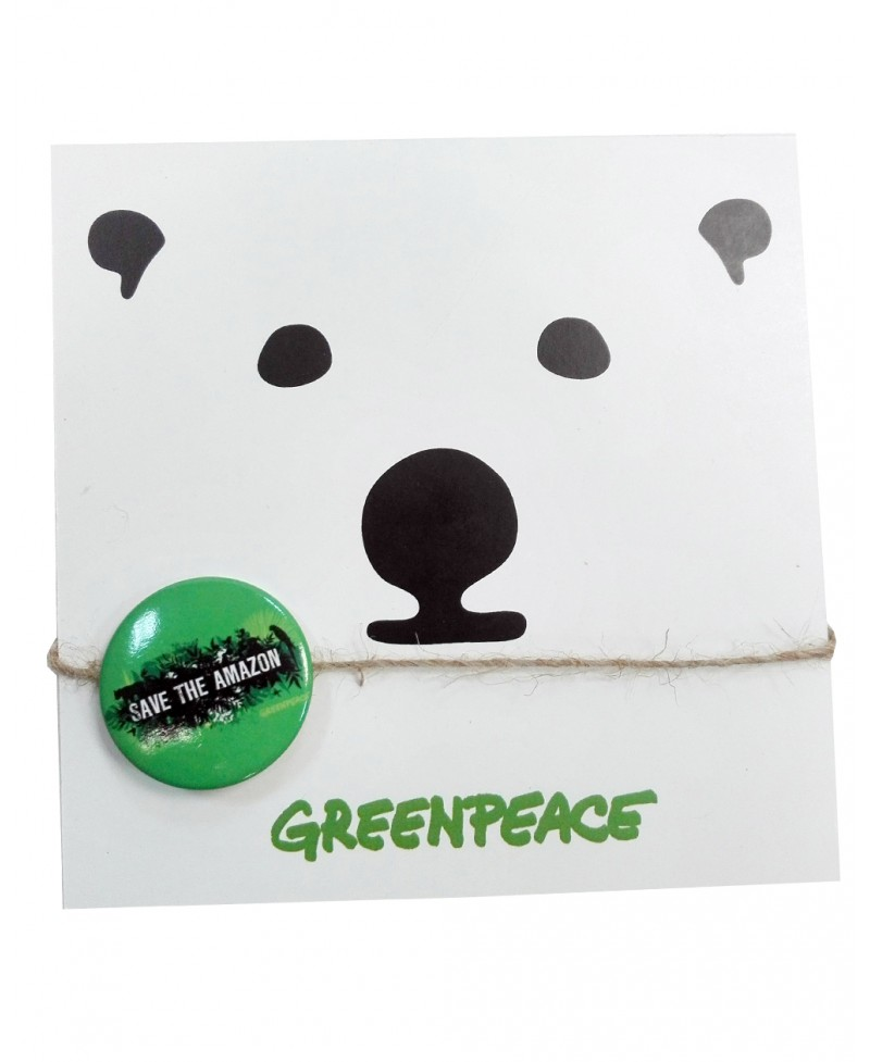 Tarjeta celebración Greenpeace + chapa Save the Amazon
