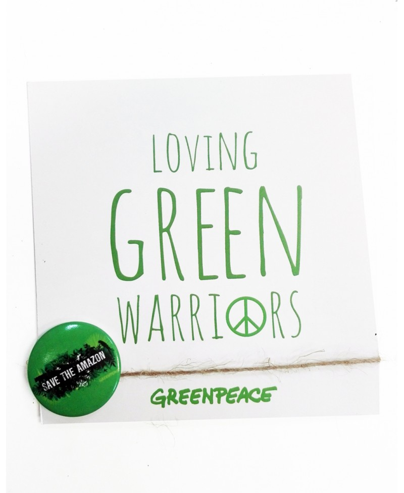 Tarjeta bodas Greenpeace + chapa Save the Amazon